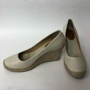 Jcrew shoes wedges women size 8.5 cream fabric